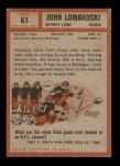 1962 Topps #61  John Lomakoski  Back Thumbnail