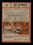 1962 Topps #59  Joe Schmidt  Back Thumbnail