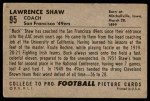 1952 Bowman Large #95  Lawrence Shaw  Back Thumbnail