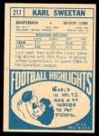 1968 Topps #217  Karl Sweetan  Back Thumbnail