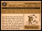 1960 Topps #67  Jose Pagan  Back Thumbnail