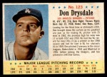 1963 Post #123  Don Drysdale  Front Thumbnail