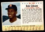 1963 Post Cereal #166  Bob Gibson  Front Thumbnail