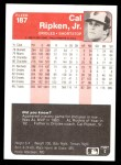 1985 Fleer #187  Cal Ripken Jr.  Back Thumbnail