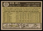 1961 Topps #512  Bob Will  Back Thumbnail