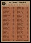 1962 Topps #60   -  Sandy Koufax / Don Drysdale / Stan Williams  / Jim O'Toole NL Strikeout Leaders Back Thumbnail
