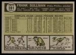 1961 Topps #281  Frank Sullivan  Back Thumbnail