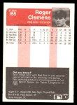 1985 Fleer #155  Roger Clemens  Back Thumbnail