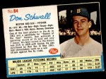 1962 Post Cereal #64  Don Schwall   Front Thumbnail