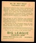 1933 World Wide Gum #82  Ray Kolp    Back Thumbnail