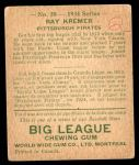 1934 World Wide Gum #38  Ray Kremer  Back Thumbnail