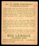 1933 World Wide Gum #70  Adam Comorosky    Back Thumbnail