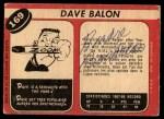 1968 O-Pee-Chee #169  Dave Balon  Back Thumbnail