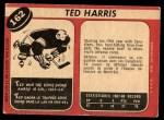 1968 O-Pee-Chee #162  Ted Harris  Back Thumbnail