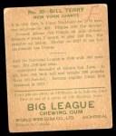 1933 World Wide Gum #20  Bill Terry    Back Thumbnail