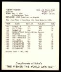 1965 Kahn's  Leon Wagner  Back Thumbnail