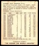 1964 Kahn's  Dick Donovan  Back Thumbnail