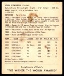 1964 Kahn's  Johnny Edwards  Back Thumbnail