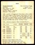 1963 Kahn's  Frank Robinson  Back Thumbnail