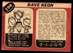 1968 O-Pee-Chee #198  Dave Keon  Back Thumbnail