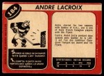 1968 O-Pee-Chee #184  Andre Lacroix  Back Thumbnail
