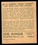 1933 World Wide Gum Ice Kings #8  Babe Siebert  Back Thumbnail