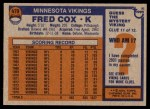 1976 Topps #479  Fred Cox  Back Thumbnail