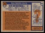 1976 Topps #482  Ken Mendenhall  Back Thumbnail