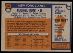 1976 Topps #487  George Hunt  Back Thumbnail