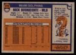1976 Topps #515  Nick Buoniconti  Back Thumbnail