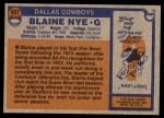 1976 Topps #527  Blaine Nye  Back Thumbnail