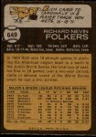 1973 Topps #649  Rich Folkers  Back Thumbnail