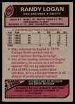 1977 Topps #498  Randy Logan  Back Thumbnail
