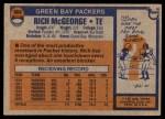 1976 Topps #504  Rich McGeorge  Back Thumbnail