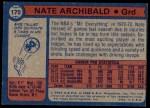 1974 Topps #170  Nate Archibald  Back Thumbnail