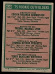 1975 Topps #622   -  Fred Lynn / Ed Armbrister / Tom Poquette / Terry Whitfield Rookie Outfielders  Back Thumbnail