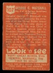 1952 Topps Look 'N See #107  George Marshall  Back Thumbnail