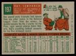 1959 Topps #197  Ray Semproch  Back Thumbnail
