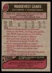 1977 Topps #171  Roosevelt Leaks  Back Thumbnail