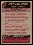 1977 Topps #327  Jeff Van Note  Back Thumbnail