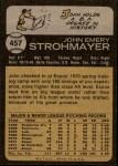 1973 Topps #457  John Strohmayer  Back Thumbnail