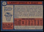 1974 Topps #21  Larry Steele  Back Thumbnail