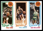 1980 Topps   -  Phil Ford / Phil Smith / Gus Williams 124 / 101 / 224 Front Thumbnail