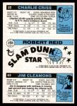 1980 Topps   -  Jim Cleamons / Robert Reid / Charlie Criss 63 / 256 / 22 Back Thumbnail