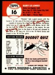 1953 Topps Archives #16  Peanuts Lowrey  Back Thumbnail
