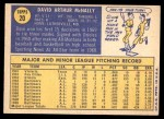 1970 Topps #20  Dave McNally  Back Thumbnail