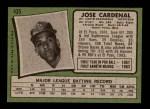 1971 Topps #435  Jose Cardenal  Back Thumbnail