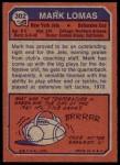 1973 Topps #302  Mark Lomas  Back Thumbnail