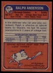 1973 Topps #357  Ralph Anderson  Back Thumbnail