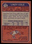1973 Topps #449  Linzy Cole  Back Thumbnail